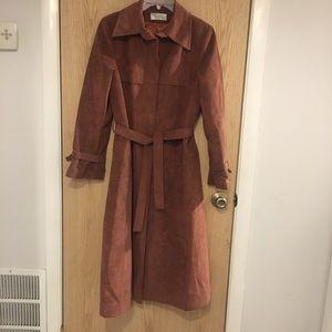 Vintage Mauve Deep Blush Suede Trench Coat